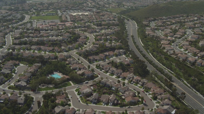 4K aerial video fly over suburban tract homes in Chula Vista, California Aerial Stock Footage | DCA08_118