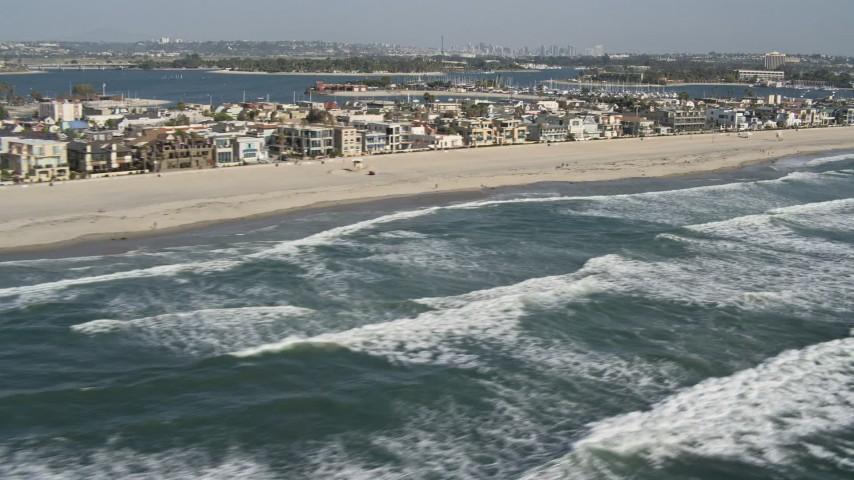 4K stock footage aerial video of beachfront neighborhoods in Mission Beach, California Aerial Stock Footage   DCA08_150
