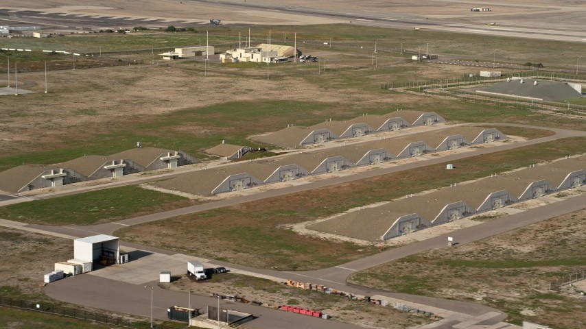 4K stock footage aerial video of bunkers at an island military base, Naval Air Station North Island, California Aerial Stock Footage   DCA08_171