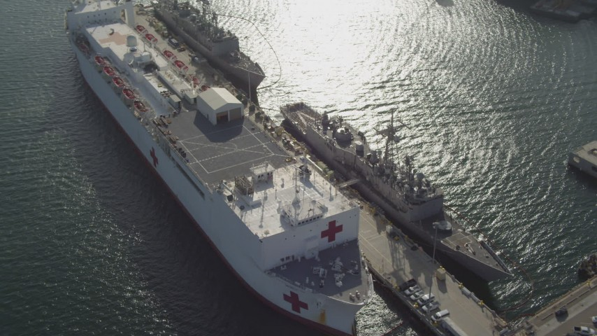 4K stock footage aerial video orbit docked Red Cross hospital ship, San Diego, California Aerial Stock Footage | DCA08_186