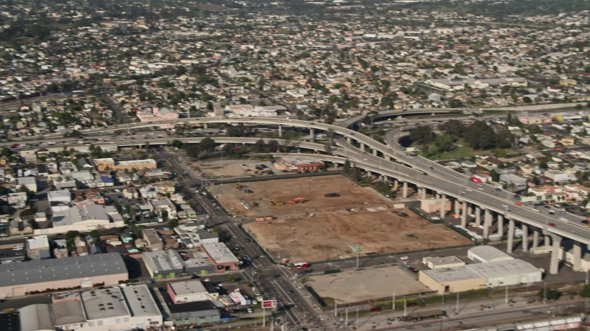 4K stock footage aerial video pan across the Coronado Bridge and Interstate 5, San Diego, California Aerial Stock Footage | DCA08_189