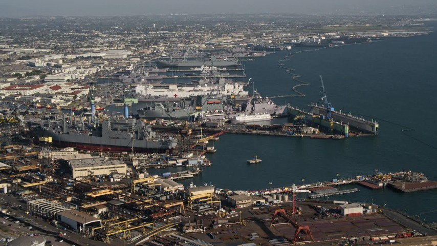 4K stock footage aerial video of naval warships under construction in San Diego, California Aerial Stock Footage | DCA08_190