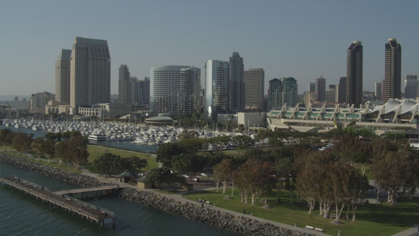 4K stock footage aerial video of a waterfront convention center and hotels, Downtown San Diego, California Aerial Stock Footage | DCA08_193