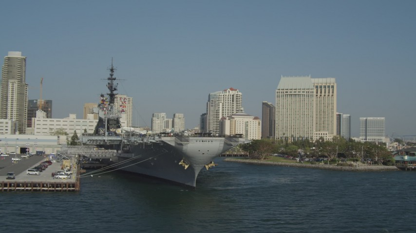 Orbit Docked Aircraft Carrier, USS Midway California Aerial Stock Footage | DCA08_197