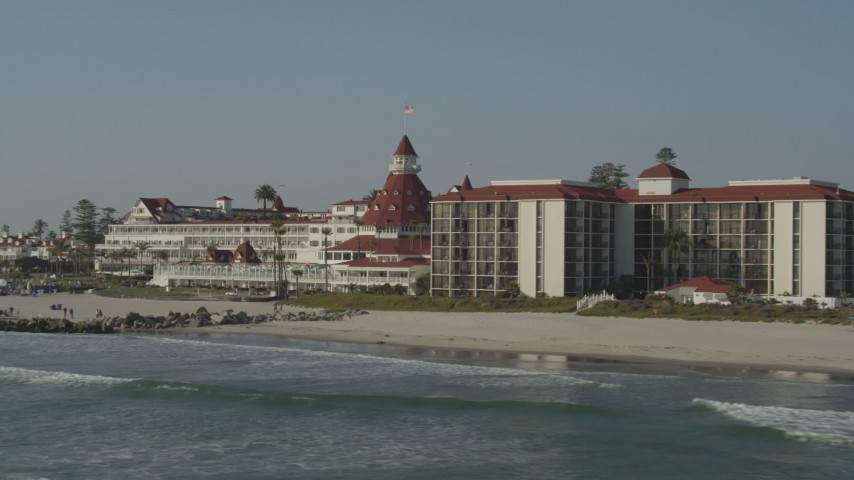 4K stock footage aerial video of the historic oceanfront hotel, Hotel del Coronado, California Aerial Stock Footage | DCA08_210