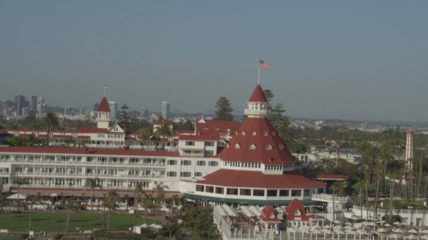 4K stock footage aerial video orbit historic oceanfront hotel, the Hotel del Coronado, in California Aerial Stock Footage | DCA08_211