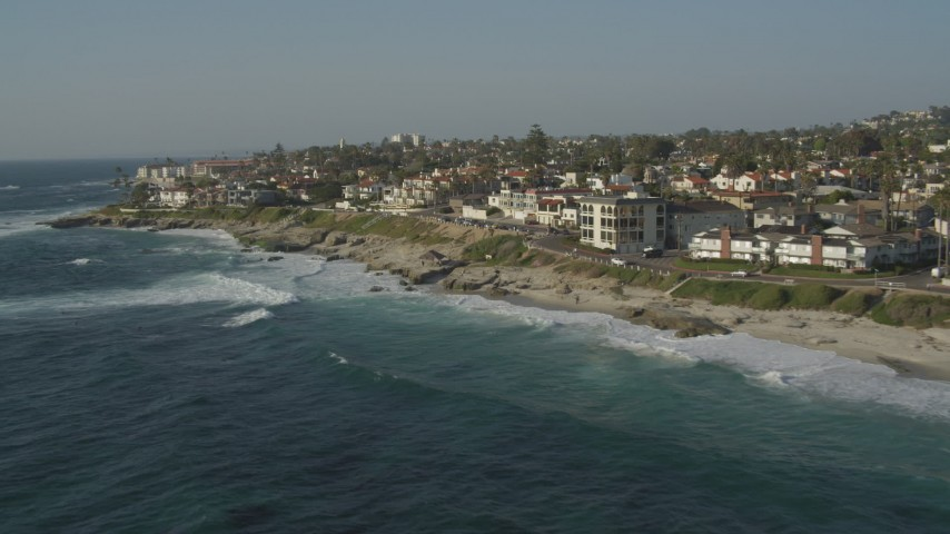 4K aerial video of upscale, oceanfront homes, La Jolla, California Aerial Stock Footage | DCA08_242