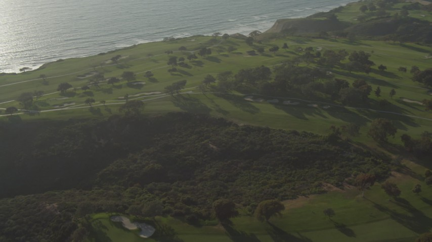 4K stock footage aerial video orbit golf courses atop cliffs in La Jolla, California Aerial Stock Footage | DCA08_261