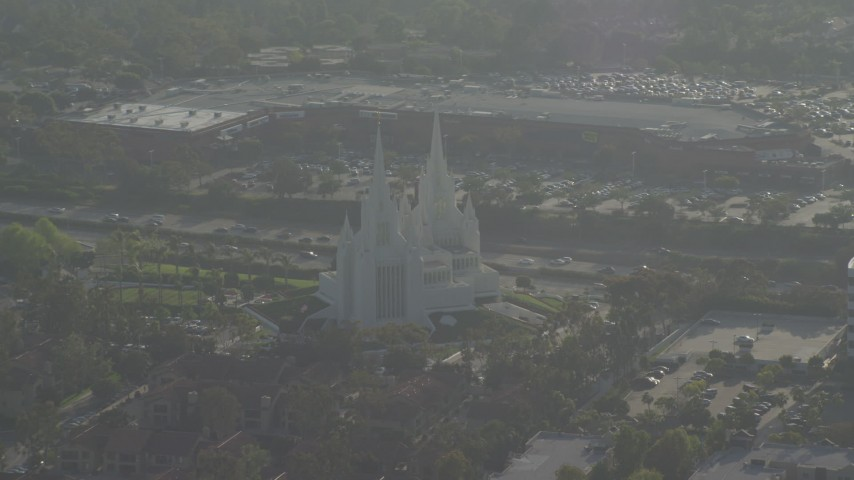4K aerial video of an orbit of a Mormon temple, La Jolla, California Aerial Stock Footage | DCA08_264