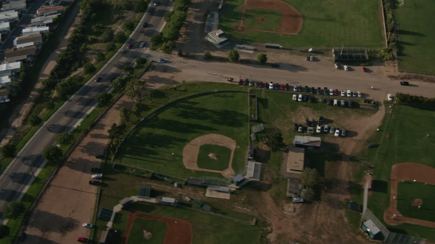 4K stock footage aerial video of community sports fields and office buildings, San Diego, California Aerial Stock Footage | DCA08_267