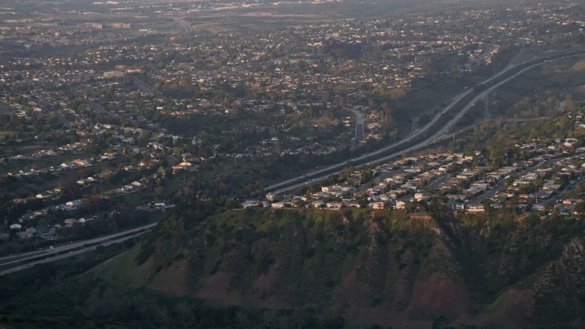 4K aerial stock footage video of suburban neighborhoods and freeway, La Jolla ,California, Sunset Aerial Stock Footage | DCA08_281