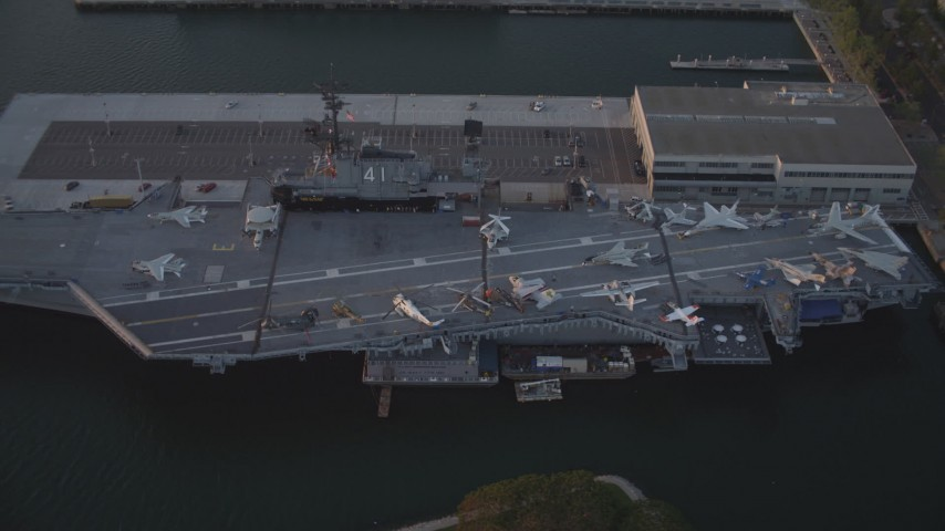 Orbit Aircraft Carrier, USS Midway Downtown San Diego Sunset Aerial Stock Footage | DCA08_304