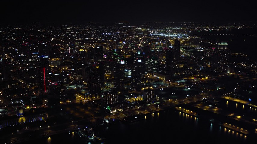 4K aerial video of waterfront skyscrapers at night in Downtown San Diego, California Aerial Stock Footage DCA08_342