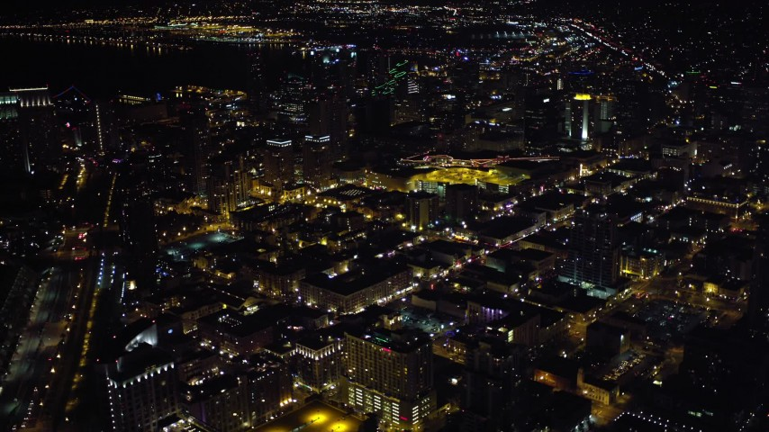 4K aerial video of city skyscrapers in Downtown San Diego, California, Night Aerial Stock Footage | DCA08_345