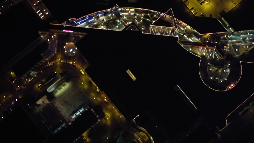4K aerial video of a bird's eye view of a shopping mall at night in Downtown San Diego, California Aerial Stock Footage | DCA08_349