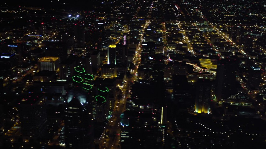 4K aerial video pan across skyscrapers in Downtown San Diego, California, Night Aerial Stock Footage | DCA08_355