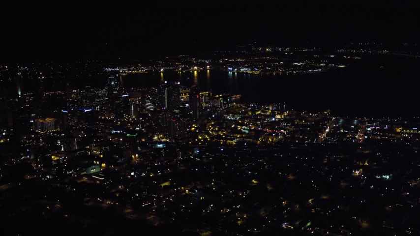 4K stock footage aerial video of a wide orbit of skyscrapers in Downtown San Diego, California, Night Aerial Stock Footage | DCA08_370