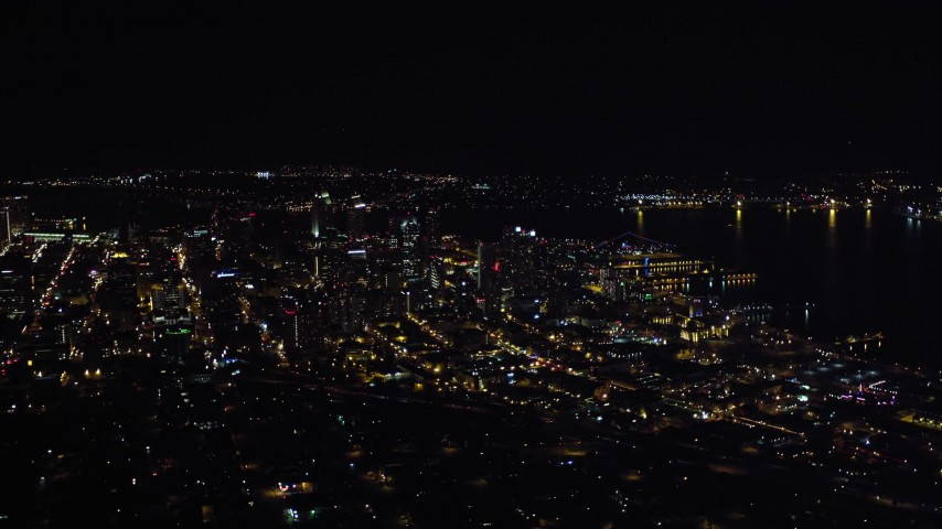 4K stock footage aerial video of a wide view of skyscrapers in Downtown San Diego, California, Night Aerial Stock Footage | DCA08_371