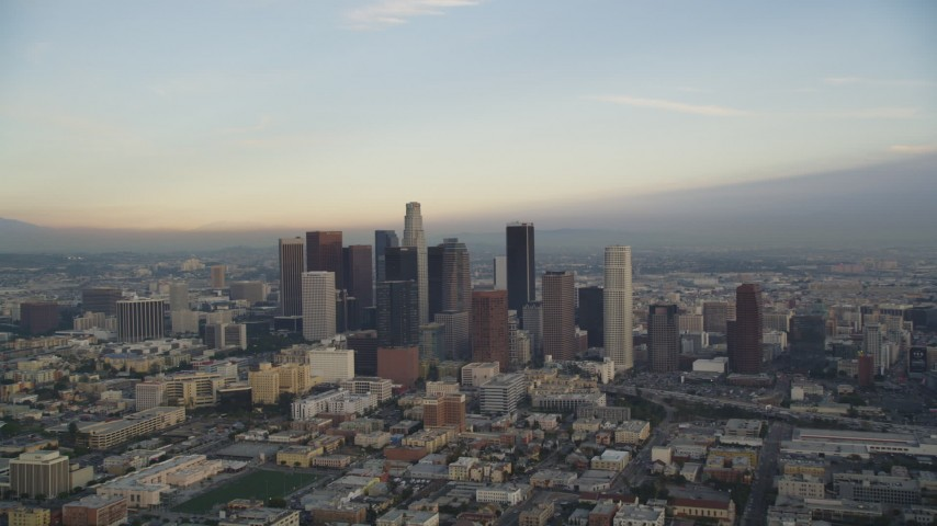 Downtown Los Angeles Skyline at Sunset Aerial Stock Footage | DCLA_023