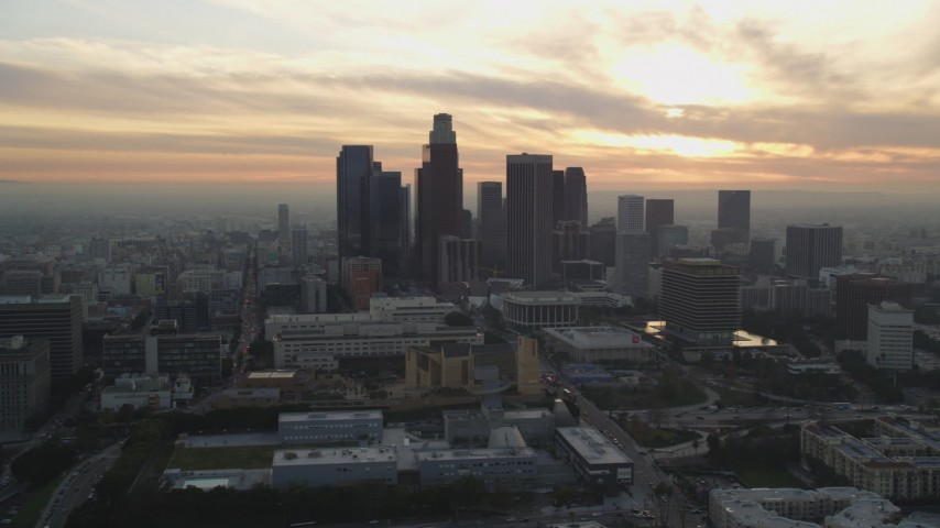 Flyby Downtown Los Angeles Skyline at Sunset in California Aerial Stock Footage | DCLA_033