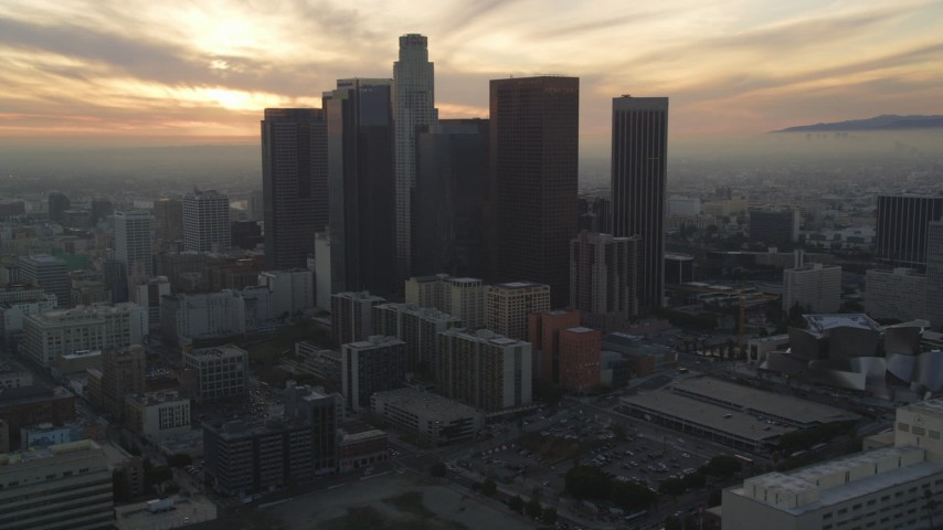 5K stock footage aerial video approach Downtown Los Angeles skyline from City Hall at sunset, California Aerial Stock Footage | DCLA_036