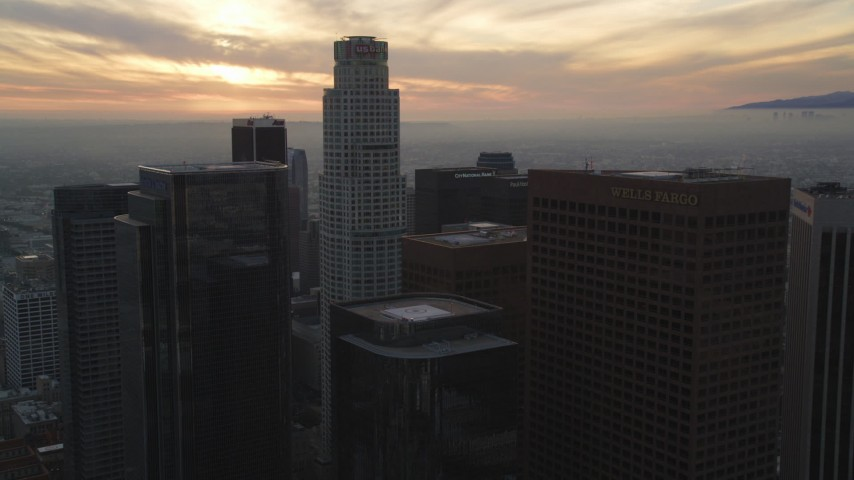 5K stock footage aerial video approach US Bank Tower in Downtown Los Angeles at sunset, California Aerial Stock Footage | DCLA_037