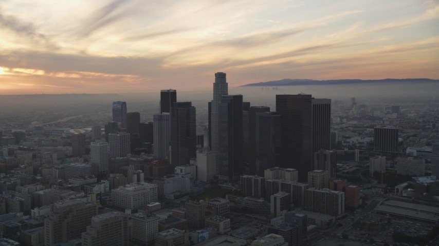 5K stock footage aerial video of Downtown Los Angeles skyscrapers at sunset, California Aerial Stock Footage | DCLA_046