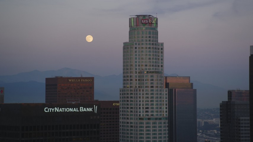 5K stock footage aerial video of full moon and US Bank Tower in Downtown Los Angeles at twilight, California Aerial Stock Footage | DCLA_072