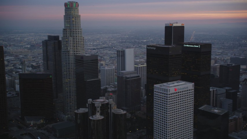 5K stock footage aerial video flyby skyscrapers in Downtown Los Angeles, California at twilight Aerial Stock Footage | DCLA_075