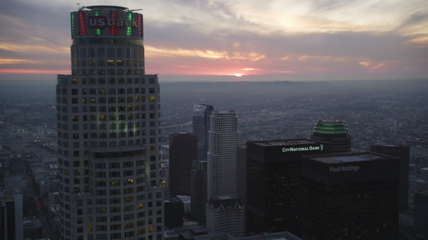 5K stock footage aerial video flyby US Bank Tower to approach distance sunset in Downtown Los Angeles, California Aerial Stock Footage | DCLA_077