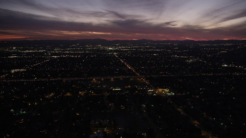 5K stock footage aerial video of twilight over San Fernando Valley neighborhoods, California Aerial Stock Footage | DCLA_085