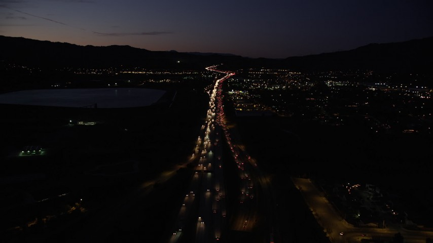Fly Over Light Traffic on Interstate 5 Interchange in Sylmar at Night Aerial Stock Footage | DCLA_090