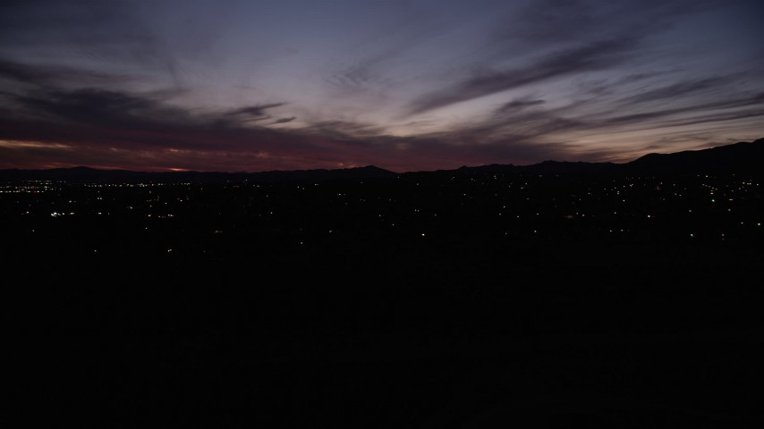 5K stock footage aerial video tilt and fly low over a reservoir in Sylmar at night, California Aerial Stock Footage | DCLA_091