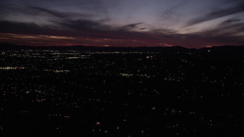 5K stock footage aerial video flyby suburban residential neighborhoods at night in the San Fernando Valley, California Aerial Stock Footage | DCLA_092