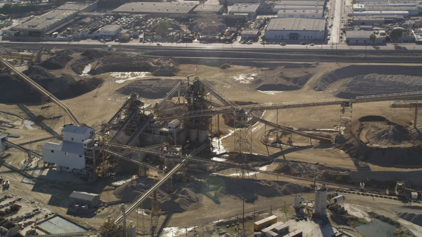 5K stock footage aerial video orbit of quarry buildings in Pacoima,  California