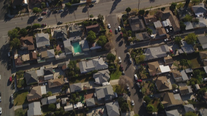 5K stock footage aerial video bird's eye view of suburban neighborhoods and streets in Sun Valley, California Aerial Stock Footage | DCLA_102