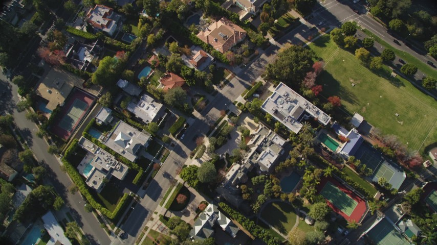 5K stock footage aerial video of a bird's eye view of Beverly Hills mansions in California Aerial Stock Footage | DCLA_115
