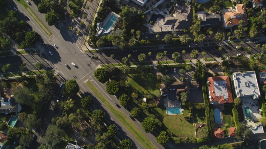 5K stock footage aerial video of a bird's eye view of streets and mansions in Beverly Hills, California Aerial Stock Footage | DCLA_116