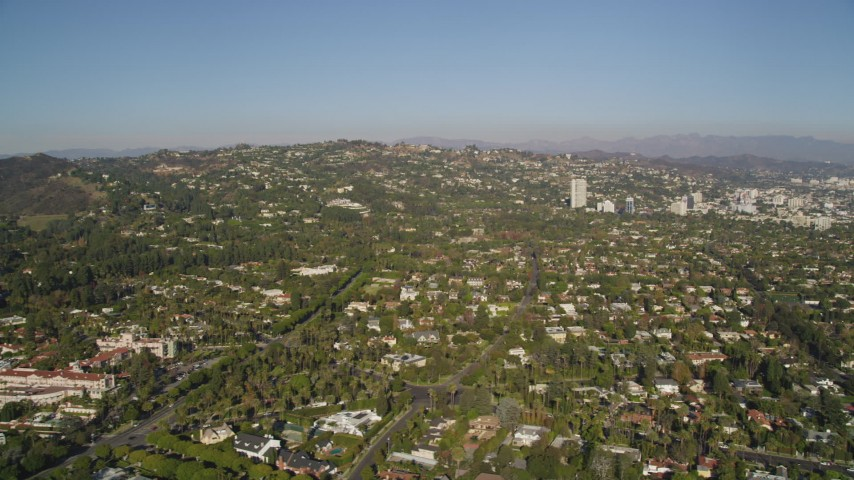 Beverly Hills Residential Neighborhoods in California Aerial Stock Footage | DCLA_119