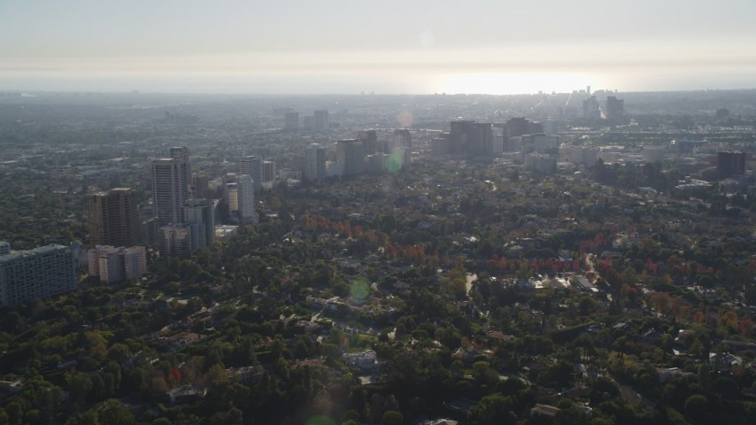 5K stock footage aerial video of office buildings and upscale residential neighborhoods in Westwood, California Aerial Stock Footage | DCLA_120