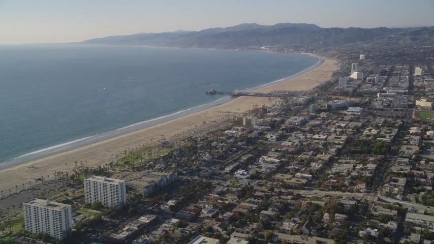 Approach the Beach and Santa Monica Pier in California Aerial Stock Footage | DCLA_121