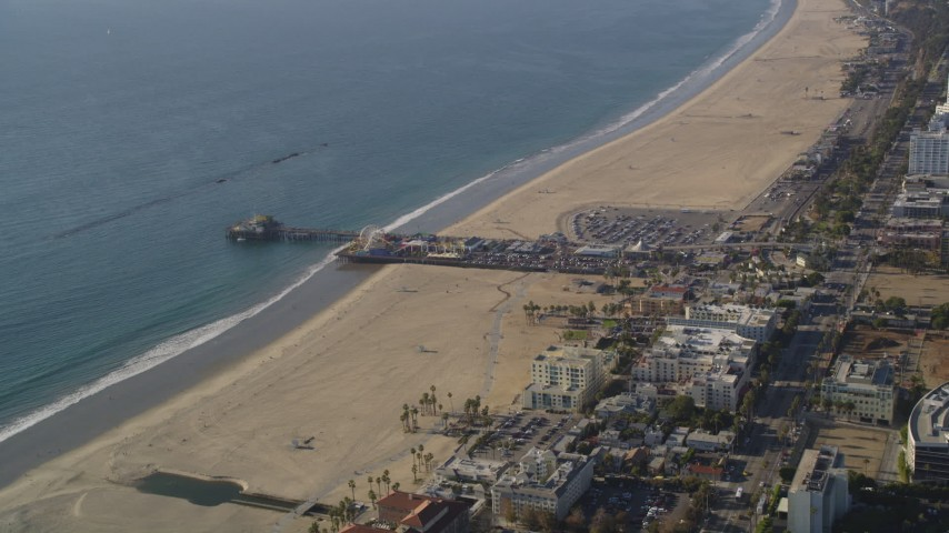 Approach Santa Monica Pier and Beach in Los Angeles, California  Aerial Stock Footage | DCLA_122