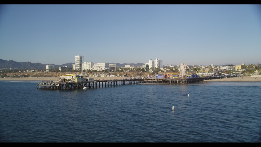 Fly Low by the End of Santa Monica Pier Aerial Stock Footage | DCLA_129