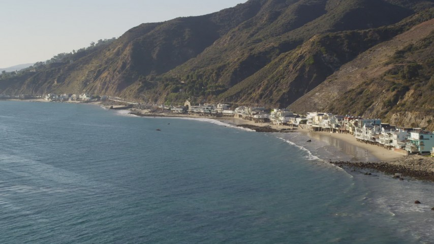 Row of Beachfront Homes in Malibu, California Aerial Stock Footage | DCLA_140