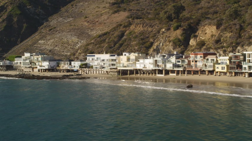 Beachfront Homes in Malibu, California Aerial Stock Footage | DCLA_141