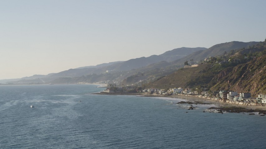 Beachfront Homes Lining the Coast in Malibu Aerial Stock Footage | DCLA_144