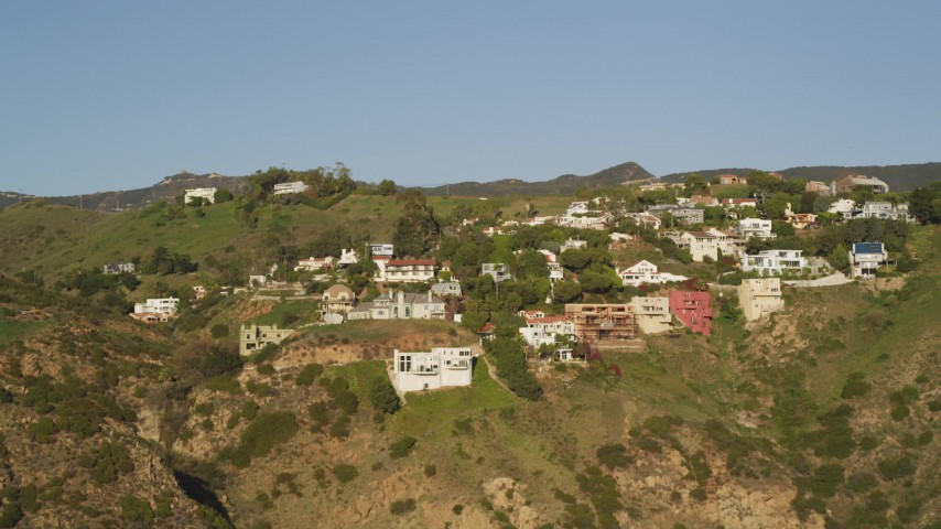 Approach Hilltop Mansions in Malibu, California Aerial Stock Footage | DCLA_162