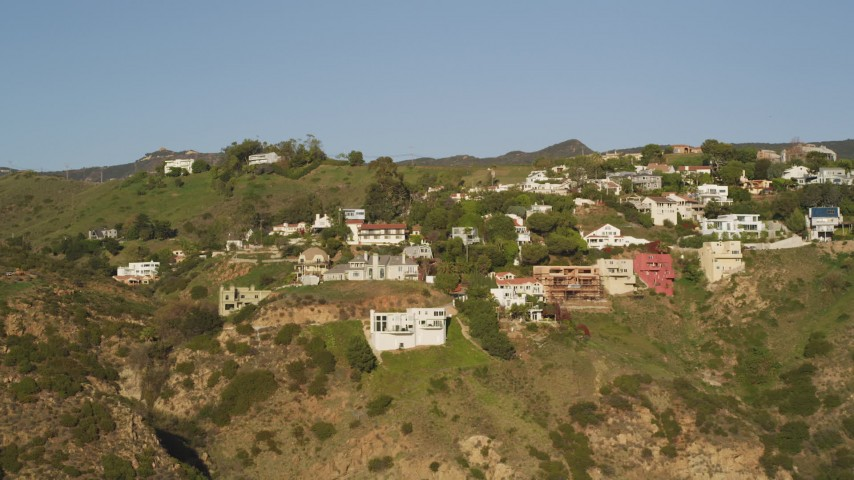 5K stock footage aerial video approach hilltop mansions in Malibu, California Aerial Stock Footage | DCLA_162