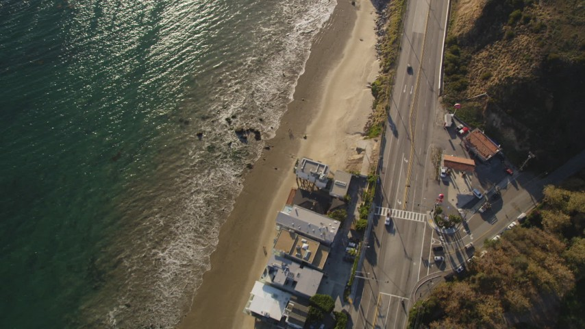 Bird's Eye View of Highway 1 and Side Road in Malibu Aerial Stock Footage | DCLA_164