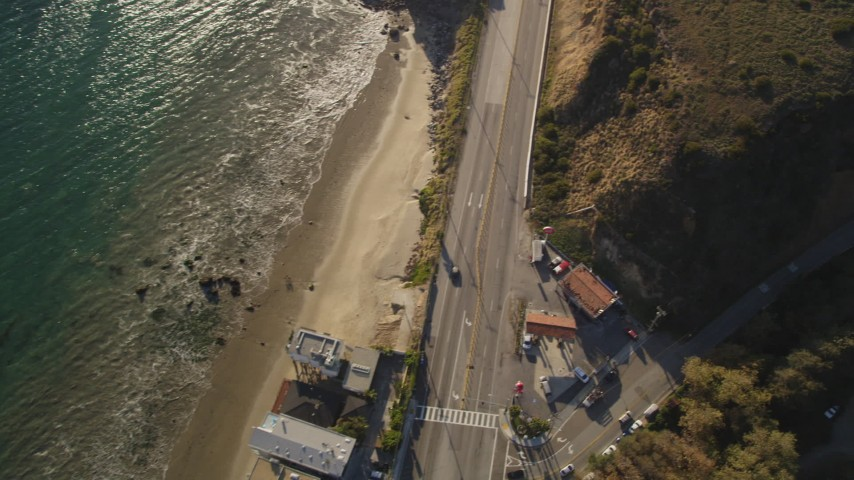 5K stock footage aerial video of bird's eye view of Highway 1 and side road in Malibu, California Aerial Stock Footage | DCLA_164